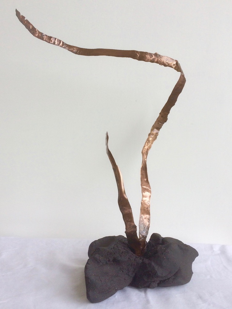 Pulled and twisted. Black stoneware and copper. 2017