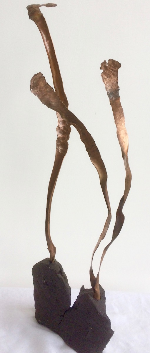 Twin a small Sprout sculpture - copper ribbons emerge from twisted black stoneware base.